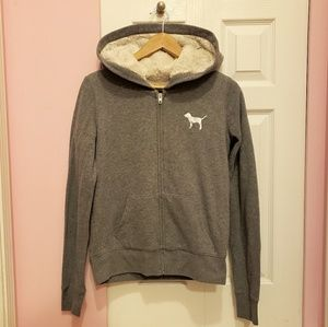 Victoria's Secret PINK Bling Fur-Lined Zip Hoodie